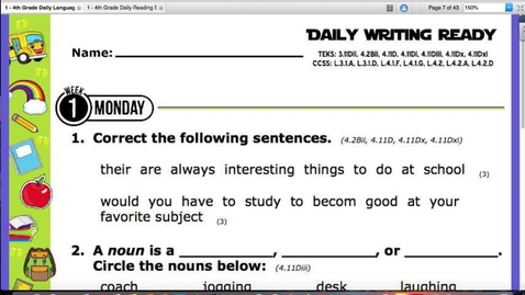Thumbnail for entry Monday, August 24 Writing:Reading Skills