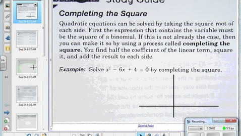 Thumbnail for entry Completing the square and vertex form of a quadratic pt 1