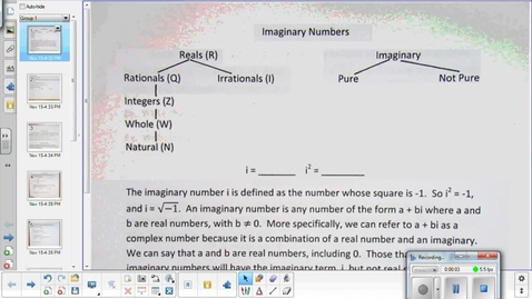 Thumbnail for entry Imaginary numbers lesson pt 1    11-19-14