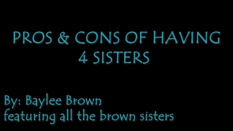 Thumbnail for entry The Pros and Cons of Having 4 Siblings - WSCN Editorials 2018/2019