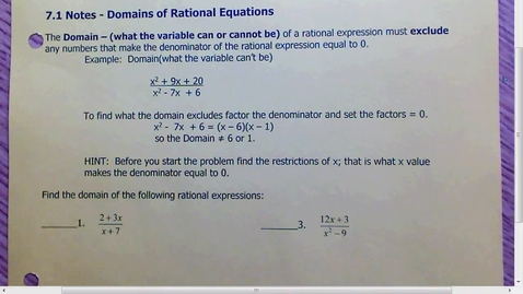 Thumbnail for entry 7.1 Domains of Rational Equations