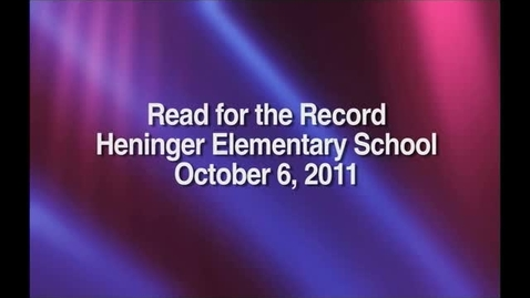 Thumbnail for entry Read for the Record at Heninger Elementary