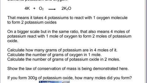 Thumbnail for entry Stephens Chemistry: (1-10-14) Ch12 Mole ratios and basic stoichiometry