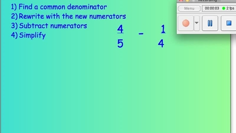 Thumbnail for entry How to Subtract Fractions.