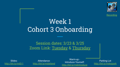 Thumbnail for entry Week 1: MD ES CS Coaches - Cohort 3:  Onboarding (edited)