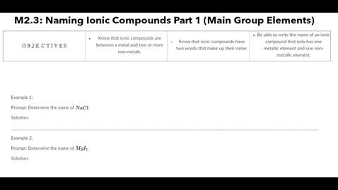 Thumbnail for entry Clip of M2.3 Naming Ionic Compounds Part 1 (Main Group Elements)