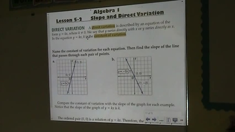 Thumbnail for entry Alg Lesson 5-2 Direct Variation Part 1