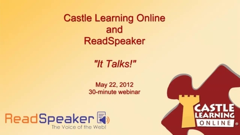 Thumbnail for entry Castle Learning uses ReadSpeaker to seamlessly integrate Text to Speech