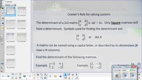 Thumbnail for entry Cramer's rule lesson   11-6-14