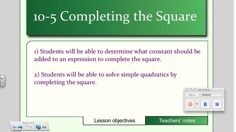 Thumbnail for entry 10-5 Completing the Square