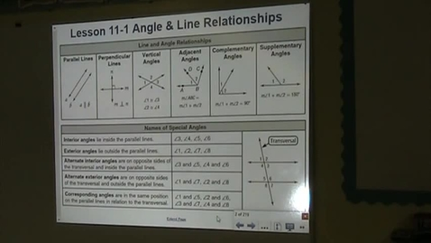 Thumbnail for entry  PA Lesson 11-1 Part A Line and Angle Relationships