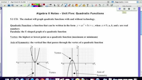 Thumbnail for entry 5.1:  Quadratics Basics