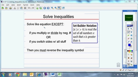 Thumbnail for entry Solving Inequalities