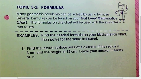 Thumbnail for entry 5.3 Formulas