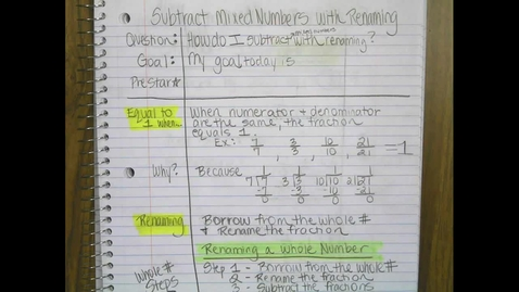 Thumbnail for entry Subtracting Mixed Numbers with Renaming