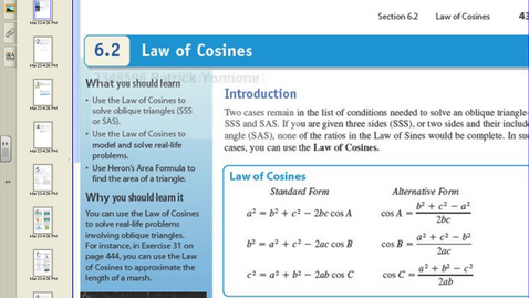 Thumbnail for entry 6.2 Law of Consines.avi