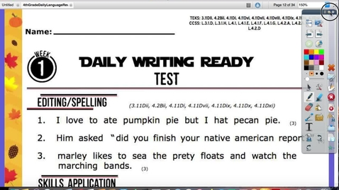 Thumbnail for entry Daily Writing Ready Test Thurs. Oct. 22
