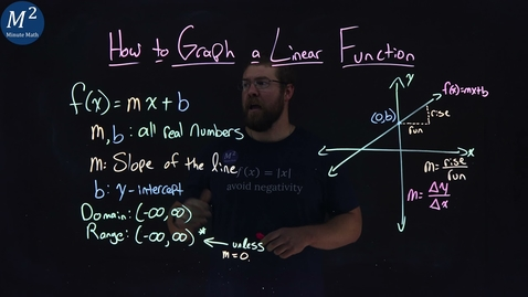 Thumbnail for entry How to Graph a Linear Function | y=mx+b | Minute Math