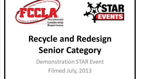 Thumbnail for entry FCCLA STAR Events Demonstration Recycle and Redesign Senior (Doland)