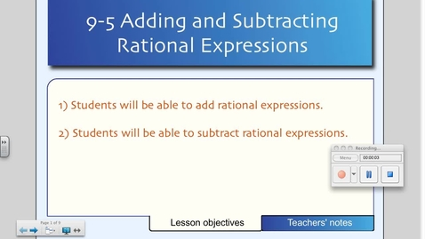 Thumbnail for entry 9-5 Adding and Subtracting Rational Expressions