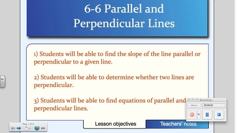 Thumbnail for entry 6-6 Parallel and Perpendicular Lines