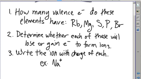 Thumbnail for entry Stephens Chemistry: (10-31-13) Ionic compound properties and writing ionic formulas