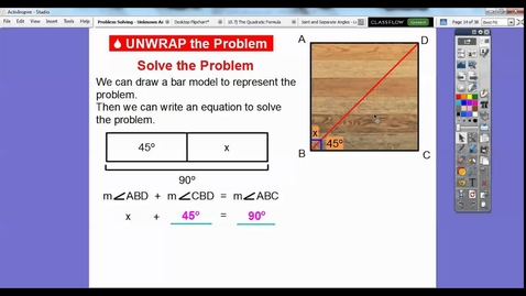 Thumbnail for entry Problem Solving: Unknown Angle Measures - Lesson 11.5