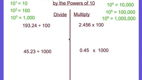 Thumbnail for entry Multiplying & Dividing Decimals by Powers of 10