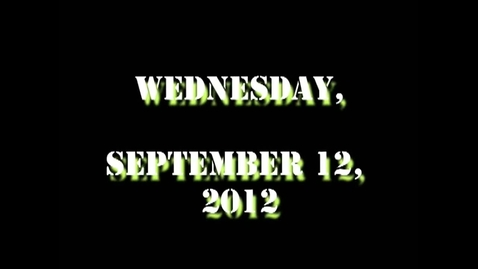 Thumbnail for entry Wednesday, September 12, 2012