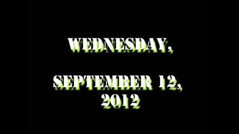 Thumbnail for entry Wednesday, September 12, 2012