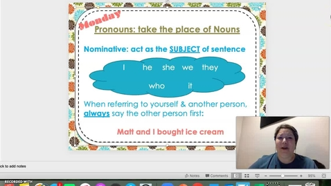 Thumbnail for entry Subject Pronouns