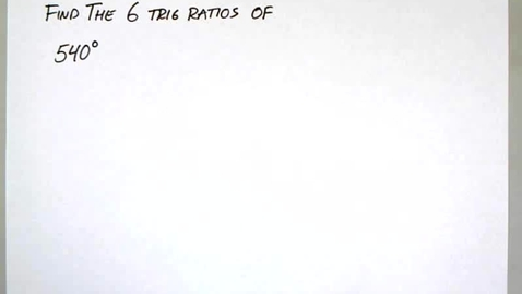 Thumbnail for entry 5-3 Unit Circle Find the 6 Ratios B