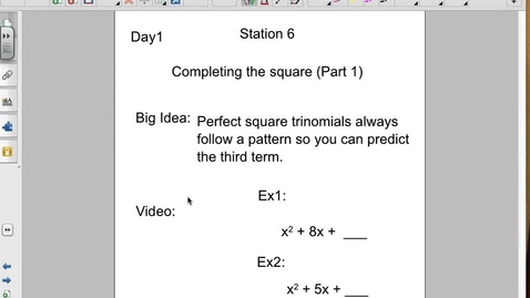 Thumbnail for entry Completing the Square