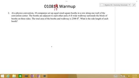 Thumbnail for entry Algebra 1B 010815 Warmup #2