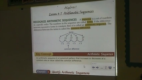 Thumbnail for entry Alg Lesson 4-7 Arithmetic Sequences Part 1