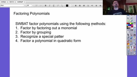 Thumbnail for entry Alg 2: Lesson 22 (Factoring Polynomials)