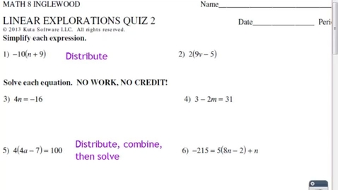 Thumbnail for entry LINEAR EXPLORATIONS QUIZ 2