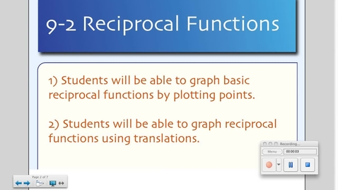 Thumbnail for entry 9-2 Rational Functions
