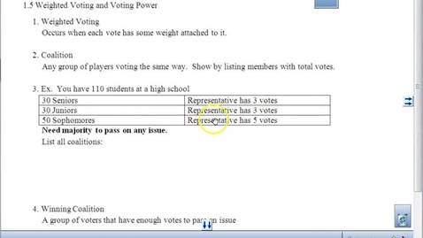 Thumbnail for entry Weighted Voting and Banzhaf Power