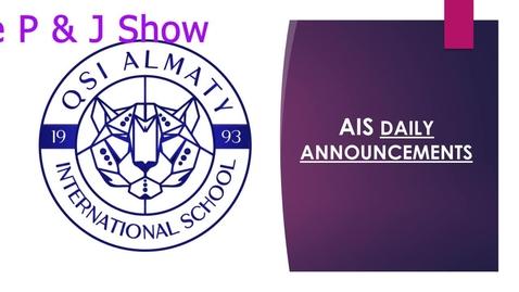 Thumbnail for entry QSI AIS Friday, June 5 announcements