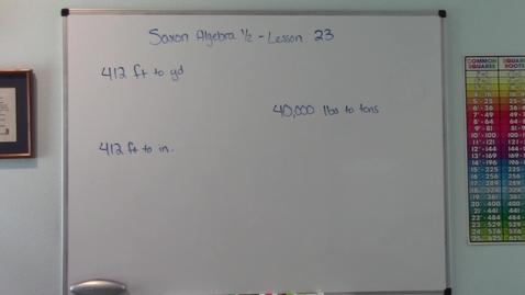 Thumbnail for entry Saxon Algebra 1/2 - Lesson 23 - U.S. Customary System - Unit Multipliers