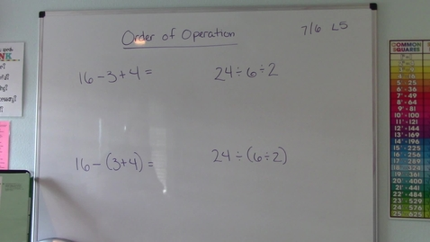 Thumbnail for entry Lesson 5 - Order of Operations