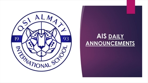 Thumbnail for entry QSI AIS Tuesday, March 31 Elementary Announcements