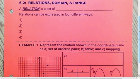 Thumbnail for entry 6.2 Relations, Domain and Range