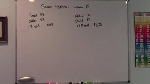 Thumbnail for entry Saxon Algebra 1 - Lesson  89 - Value Problems