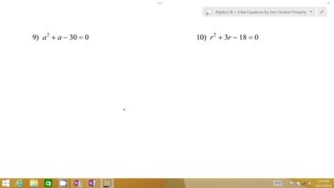 Thumbnail for entry Algebra 1B Lesson 07 #9-10