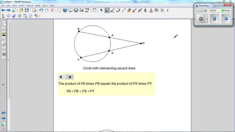 Thumbnail for entry Special Segments in Circles, secants intersect outside of a circle. Use this fact to find x.
