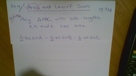 Thumbnail for entry 14.4 Area and Law of Sines