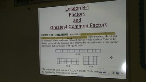 Thumbnail for entry Alg Lesson 9-1 Factors and GCFs