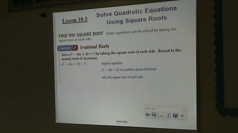 Thumbnail for entry Alg Lesson 10-3 Intro to Square Roots of Quadratics